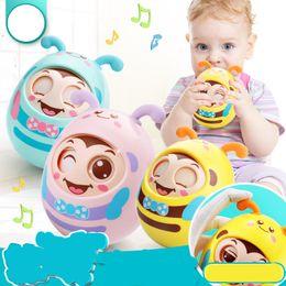 Wholesale hold boy - Baby Rattles Tumbler Doll Toy Educational Cartoon Tumbler Boy Soft Teeth Glue Hand Held Toys New Arrival 6 8ay W