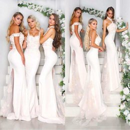 2066116eb446b 2018 Sexy Arabic White Satin Bridesmaid Dresses Halter Neck Floral Appliqued  Sweep Train Mermaid Wedding Guest Prom Gowns Custom Made