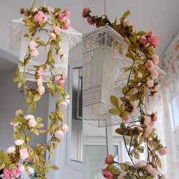 Wholesale Wholesale Silk Xmas Flowers - Wedding decoration Vintage Retro Artificial Flower Silk Rose Fake Flower Vine DIY Hanging Garland Wedding Home Xmas Decor Rattan