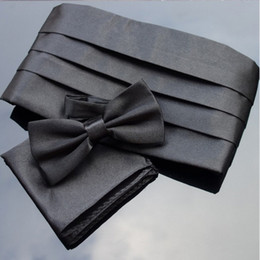 Ikepeibao Black Cummerbund Sets Pocket Square Bowties Smoking da uomo premium formale Noeud Papillon Sash Wide Belts Ceremonial Belt da