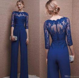 Wholesale Cocktail Jumpsuits - Royal Blue 2017 Plus Size Mother Of Bride Pant Suit Wedding Guest 3 4 Lace Sleeve Mother Jumpsuit Chiffon Cocktail Party