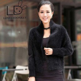 Wholesale Black Brown Cashmere Sweater - LOVELYDONKEYThe woman's real mink cashmere sweater cardigan short sweater coat shawl coat free shipping M193