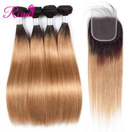 Due capelli colorati ombre colorati online-1B 27 fasci colorati con chiusura capelli umani brasiliani diritti 4 fasci di tessuto con 4 * 4 chiusura in pizzo due tonalità radici nere