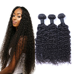 curl remy hair extensions Promo Codes - Peruvian Jerry Curl 100% Unprocessed Human Virgin Hair Weaves 8A Quality Remy Human Hair Extensions Human Hair Weaves Dyeable 3 bundles