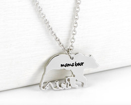 Wholesale Birthday Necklace - 2018 Mama Bear Necklace Fashion silver plated Polar Mama Bear Necklaces jewelry Gifts for Mom Wife Mother's Day Gift Birthday Remembranc