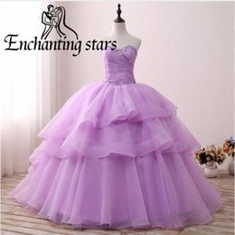 Wholesale Sexy Girls Photos Hottest - 2018 Tiered Organza Quinceanera Dresses High Quality Hot Lilac Girls Sweet 16 Dress Beaded Collar Ball Gowns Princess Formal Prom Party Gown