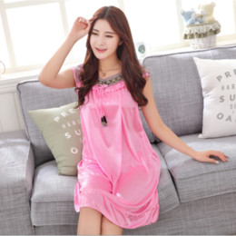 Solid Satin Silk Women Nightgowns Summer Nightdress Sheer Chemises  Nightshirt Lace Sleepwear Sexy Nightwear Trim Nightie 038fbbac6