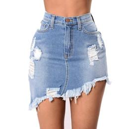 Wholesale denim sexy women skirt - Pencil Skirt Blue Denim Women Sexy Casual Mini Summer Skirts 2018 Fashion New Ripped Pockets Bodycon Skirt