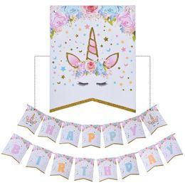 Canada Brillant Bannière Bannière Drapeaux Licorne Joyeux Anniversaire Bannière Baby Shower Enfants Party Decor Cartoon Licorne Party Favors Fournitures Offre
