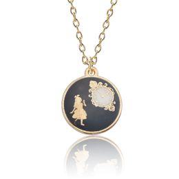 Uhr halsketten online-Alice im Wunderland Schmuck Mode Mädchen Alice Uhr Halsketten Anhänger Emaille Bunte Frauen Choker Halskette Collares