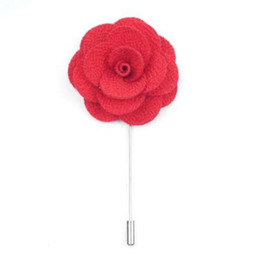 Wholesale Mens Wedding Suit Flowers - High Quality Handmade Flower Boutonniere Stick Brooch Pin Mens Accessories Men Lapel Pin Brooch Flower Suit 18 Color Hot