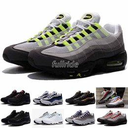 Wholesale cheap neon - 2018 New Cheap Mens sports 95 running shoes,Premium OG Neon Cool Grey sporting shoes sneakers size 7-12