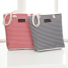 striped cotton canvas tote bags Promo Codes - New Cotton Canvas Summer Women Beach Bag Ladies Girl Shoulder Bags Woman Tote Bags Large Female Handbags Striped Casual Bag