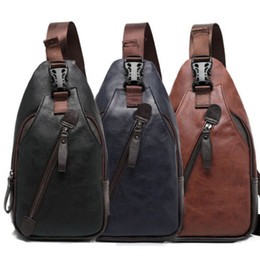 Wholesale Cotton Sling Bags - New Fashion Men Chest Bag PU Leather Zipper Hasp Messenger Shoulder Bag Travel Sling Packs