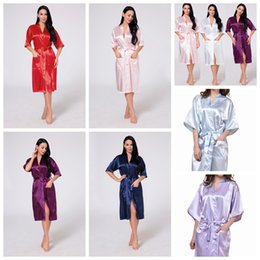 Wholesale ladies long night gowns - 11 Colors Women Silk Solid Robe Bridal Wedding Bridesmaid Bride Gown kimono Long Pajamas Summer Night Lady Sleepwear AAA537
