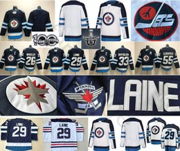 Wholesale Winnipeg Jersey - 2018 Winnipeg Jets Ice Hockey 26 Blake Wheeler 29 Patrik Laine 33 Dustin Byfuglien 57 Tyler Myers 55 Mark Scheifele Blue White Jersey