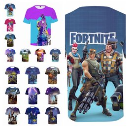 Wholesale funny games - 17styles Fortnite Game Print 3D T-shirts Men Women game Short Sleeved Tops Tee o-neck Funny Casual fashion tee FFA466 12pcs