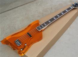 guitares électriques en verre Promotion Livraison gratuite Orange Basse électrique avec corps en verre acrylique, touche en palissandre, guitares guitarra
