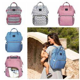 Wholesale Stripe Maternity - LAND Waterproof Striped Mummy Backpack Baby Maternity Nappy Diaper Bag Large Capacity Baby Bag Travel Backpacks 20pcs LJJO4051
