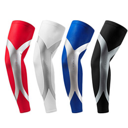 Wholesale Red Elbows - 1 Piece Men Sports Long Arm Sleeve Warmers Basketball Shooting Elbow Pads Protector Stretch Padded Support Guard Pad Cycling