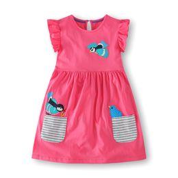 Niños niña Vestidos florales 2019 Niña bebé algodón Vestido de dibujos animados Chica Verano Rayado Bolsillo vestido niños ropa al por mayor desde fabricantes