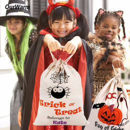 recycled decor Coupons - Halloween Trick Or Treat Bags Cartoon Pumpkin Spider Witch Decor Halloween Sacks Canvas For Kids Halloween Candy Buckets Bag