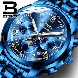 Wholesale Binger Watches - Switzerland Automatic Mechanical Watch Men Binger Luxury Brand Mens Watches Sapphire clock Waterproof relogio masculino B1178-8