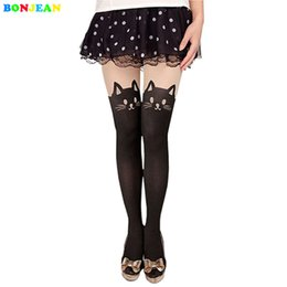 Wholesale Mock Knee High Tights - BONJEAN Cute Hot Fashion Sexy Women Cat Tail Gipsy Mock Knee High Hosiery Pantyhose Panty Hose Tattoo Tights