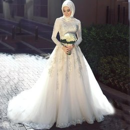 2207da82212f vestiti pakistani Sconti Abiti da sposa musulmani sauditi elegante 2018  collo alto in pizzo maniche lunghe