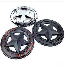 Wholesale Pentagram Metal - 3D Metal TEXAS EDITION Shield Pentagram Car Side Fender Tail Badge Styling Sticker JEEP Wrangler EEA259 50pcs