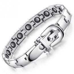 sport magnetischen armband Rabatt Gürtelschnalle Stil Armband Titan Stahl Magnetische Armband Sport Gesundheitswesen Magnetisch widerstehen müde