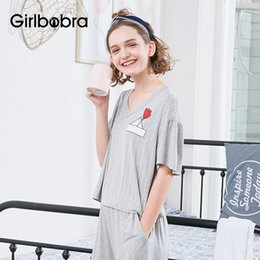 624de02504 Women s Sleepwear Set Sweet Striped Flower Pattern V Neck Short Sleeve Cozy  Home Suit Pajama. Supplier  walkerstreet