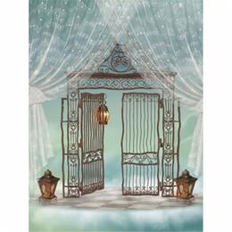 Wholesale Iron Lanterns For Weddings - Music Notes Printed Curtain Vinyl Backdrops for Photography Iron Gate Vintage Lantern Paradise Fairy Tale Baby Kids Wedding Photo Background