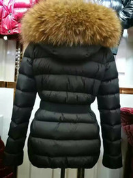 Wholesale hooded raccoon fur coat - M8 Brand Belt Waist Slim Down Coats Long Style 100% Real Raccoon Fur Collar Down Jackets Thickening Warm winter hooded Parkas