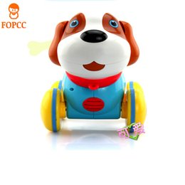 Wholesale teaching machine - Crawl Training Teach Pull Along Puppy Action Toy Pet Kids Baby With Music Light Touch Touch Machine Dog Bite Bone Intelligence