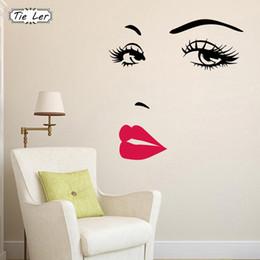 2019 vinilo labios TIE LER Sexy Girl Lip Eyes Pegatinas de Pared Dormitorio Vivo Decoración DIY Vinyl Decals Art Poster Home Decor rebajas vinilo labios