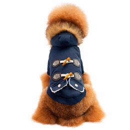 Wholesale thick pet winter coat - wholesale Dog Clothes For Small Dogs Pet Products Clothing Pet Dog Cat Fur collar Ox horn Button Warm With Thick Coat Sweater Clothes
