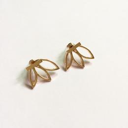 Wholesale Double Stud Ear Cuff - Trendy Lotus Flower Earrings Double Side Stud Earrings For Women Ear Cuff Clip Hollow Out Geometry Earrings Jewelry