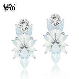 Argentina VEYO 12 colores Crystal Stud Earrings para mujer moda personalidad grandes pendientes al por mayor de aleación de zinc sin plomo libre de níquel Suministro