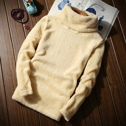 Wholesale Thick Winter Shirts Men - Winter keep warm men's inner T shirts Flocking Velvet Faux Fur Sweater High Neck Basic Thick tees Male Pullovers homme MQ336