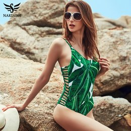 Wholesale One Leaf - 2018 Sexy One Piece Swimsuit Women Swimwear Green Leaf Bodysuit Bandage Cut Out Beach Bathing Suit Monokini Swimsuit XL