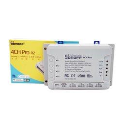 Télécommande 4ch rf en Ligne-Sonoff 4CH Pro R2 Advanced Smart Switch 4 canaux 433 MHz RF Wifi Télécommande Modules d'automatisation intelligents pour les appareils ménagers Sonoff 4CH