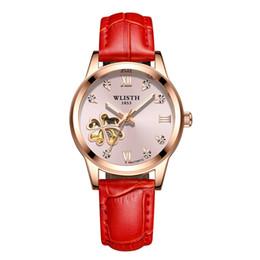 Reloj rojo espejo online-El más nuevo Reloj Automático Para Mujer Relojes de Lujo 34mm Dial Mecánico Movimiento Hardlex Espejo Rojo Rosa Banda de Cuero Reloj de Moda