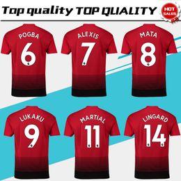 jerseys de fútbol 14 Rebajas # 6 POGBA Home Red Soccer Jersey 18/19 # 9 LUKAKU camiseta de fútbol 2019 # 7 ALEXIS # 10 RASHFORD # 14 LINGARD club team Uniformes de fútbol talla S-4XL