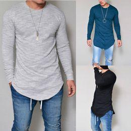 53ba990c0e70b Moda para hombre camisas cuello redondo camiseta manga larga negro gris  azul blanco tamaño S-XXL ropa para hombre ocasional poliéster camisetas para  hombres