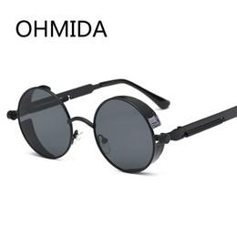 Wholesale Punk Gothic Coat - OHMIDA Vintage Gothic Steampunk Sunglasses Men Coating Mirrored Women Retro Round Circle Sun glasses For Male Steam Punk UV400