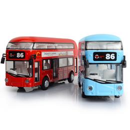 Wholesale london metal - Alloy London Bus Double Decker Bus Light & Music Open Door Design Metal Diecast Design For Londoners Toys For Children