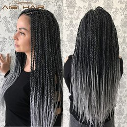 Wholesale wholesale kanekalon hair twist - 30Strands 18 inch Ombre Senegalese Twist Hair 80g Real Kanekalon Crochet Braids Hair Extensions 1Pack Lot