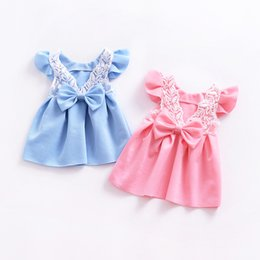 Wholesale Chinese Summer Clothes - Baby girls lace skirts summer girl princess backout bow dress children kids boutiques clothes pink and light blue color 2018 new