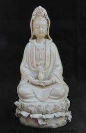 Wholesale Ceramic Vase Antique - 27CM Chinese Dehua White Porcelain Sacred Guan Yin Kwan-yin Vase Goddess Statue